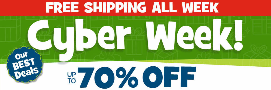 Cyber week deals up to 70% off plus free shipping all week.