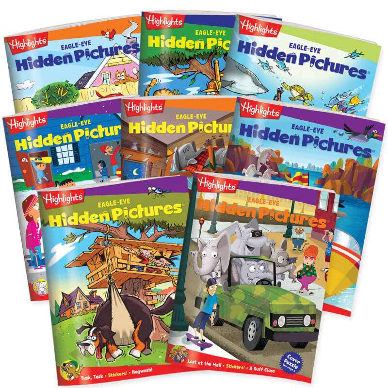 Get 8 books from the EAGLE-EYE level of Hidden Pictures Club.