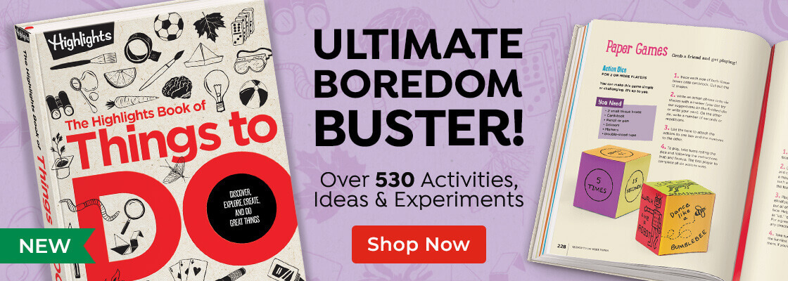 New! The Highlights Book of Things to Do is the ultimate boredom buster, featuring over 530 activities, ideas and experiments!