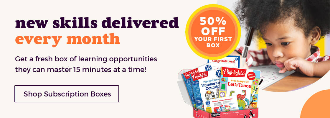 New skills delivered every month with our 15 Minutes a Day to School Success subscription boxes.