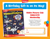 Eagle Eye Certificate Birthday Gift Announcement