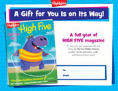High Five Certificate Anytime Gift Announcement