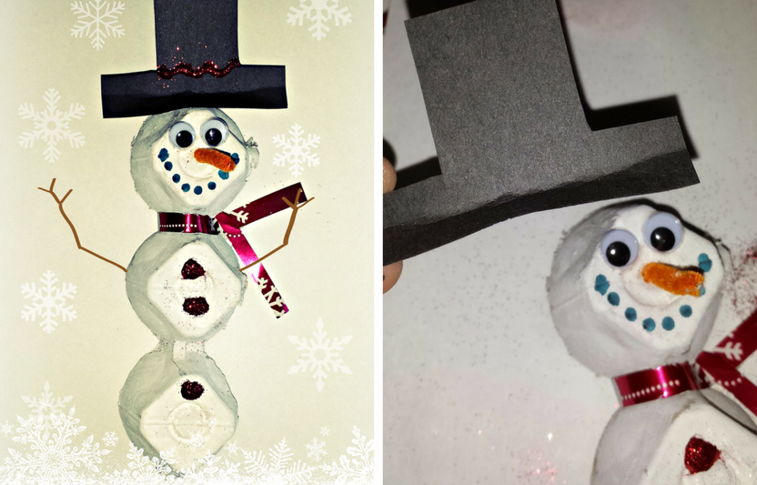 Do you have an empty egg carton leftover from breakfast? Watch your kids get creative when they personalize their recycled snowman.