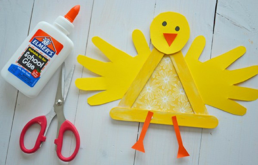 These little feathery chicks make cute keepsakes, since they include your kids' handprints, too! While crafting the chicks, talk to your kids about the shapes they are building with the popsicle sticks.