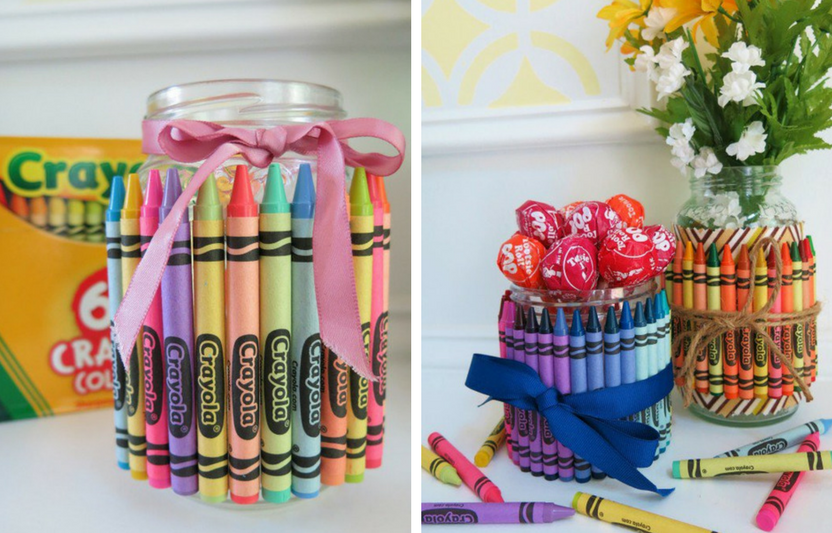 Use a pack of crayons and a Mason jar for this colorful catchall that any teacher would love!