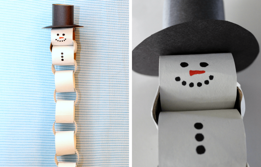 "Kids will love ""building"" long snowmen chains out of empty cardboard tubes in this cute craft."