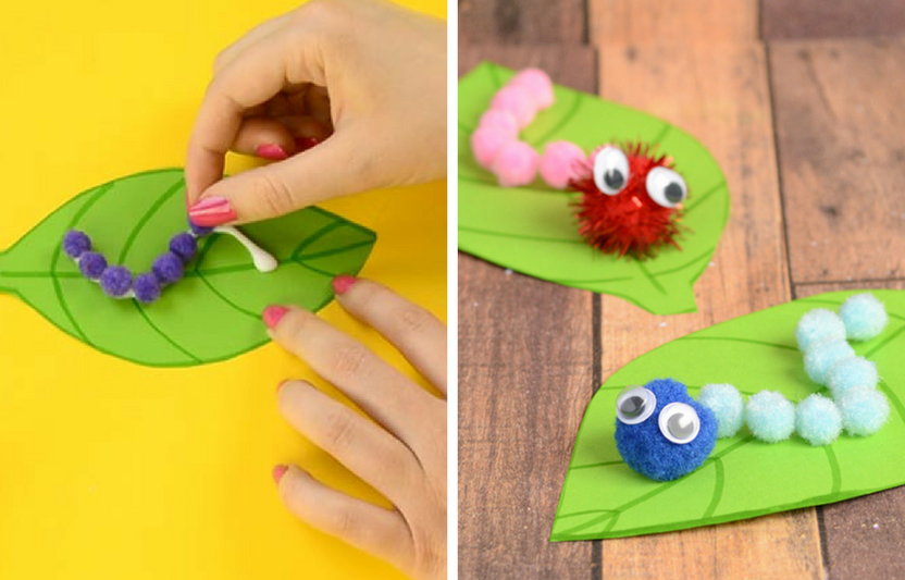 Use pom poms to create this cute fuzzy creature and incorporate elements of sensory play into the crafting.