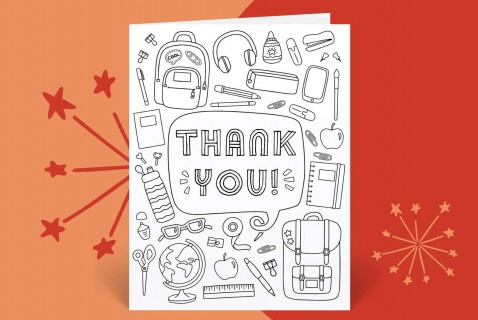 Printable Teacher Thank You Card