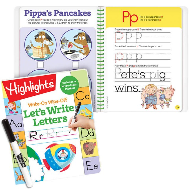 Write-On Wipe-Off Let's Write Letters bonus book with activities practicing the letter P