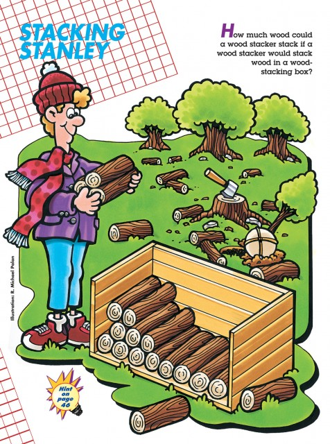 A logic puzzle for figuring out how many logs in a stack of wood