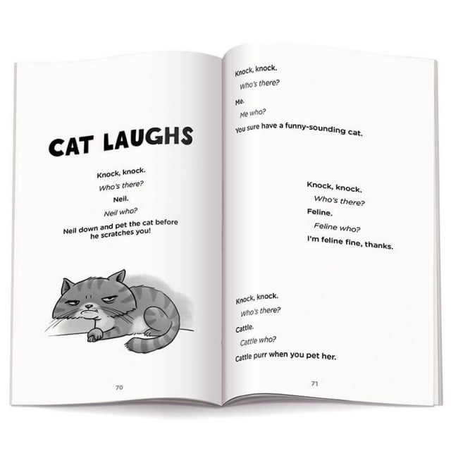 """The beginning of the """"Cat Laughs"""" section and a cat illustration"""