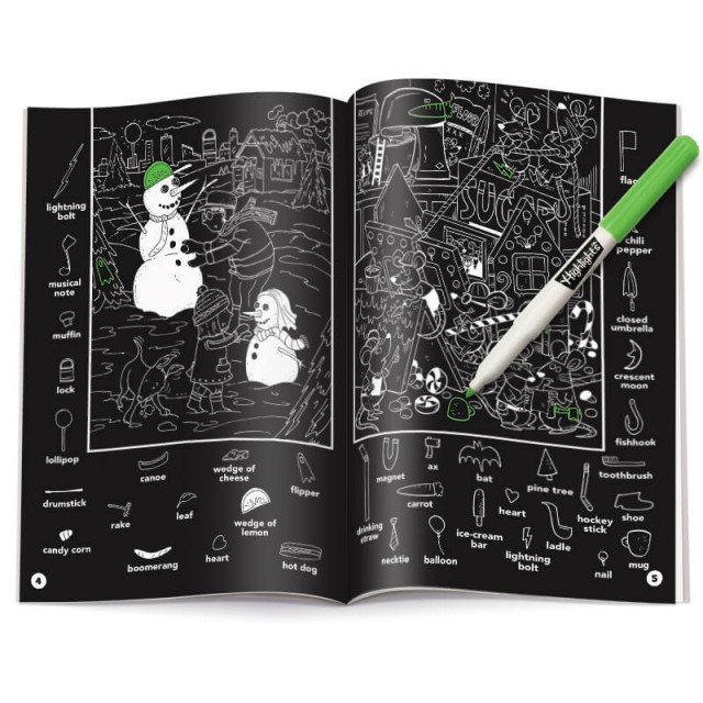Two-page snowman scene and highlighter