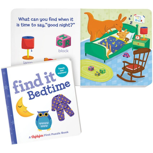 Find It Bedtime book and kangaroo bedtime scene
