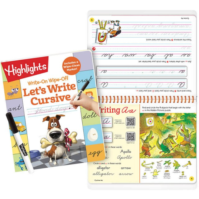 Write-On Wipe-Off Let's Write Cursive book and marker, plus writing practice for letter A and a puzzle with A words