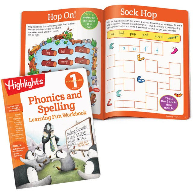 Phonics and Spelling workbook and lesson about short vowel sounds