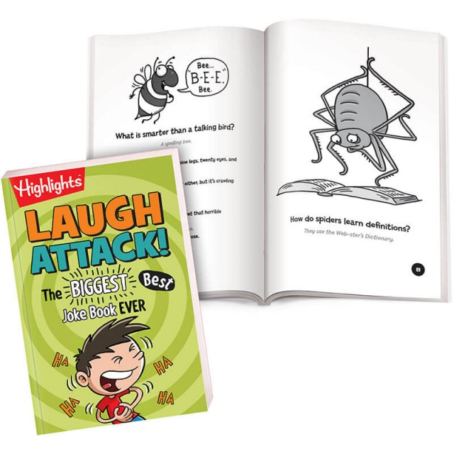 Laugh Attack book with pages of bug-themed jokes and illustrations