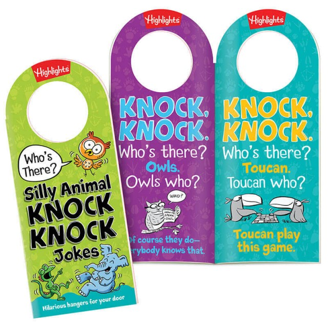 Silly Animal Knock Knock Jokes door hangers and 2 door hangers with animal-themed jokes and illustrations