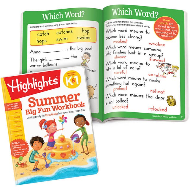 Summer Big Fun Workbook and lessons for word meanings