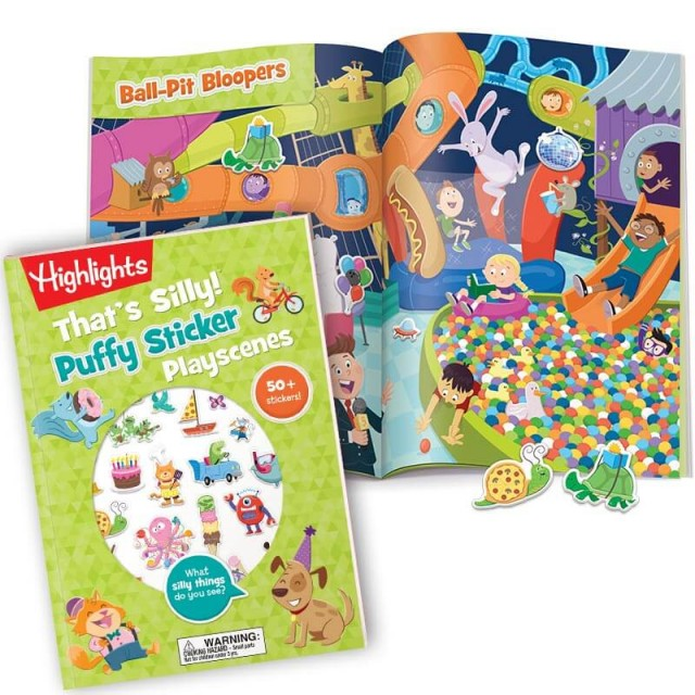 That's Silly Puffy Sticker Playscenes book with 2-page Ball-Pit Bloopers scene