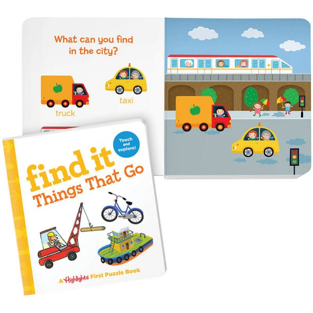Find It Board Book: Things That Go, and city vehicles scene