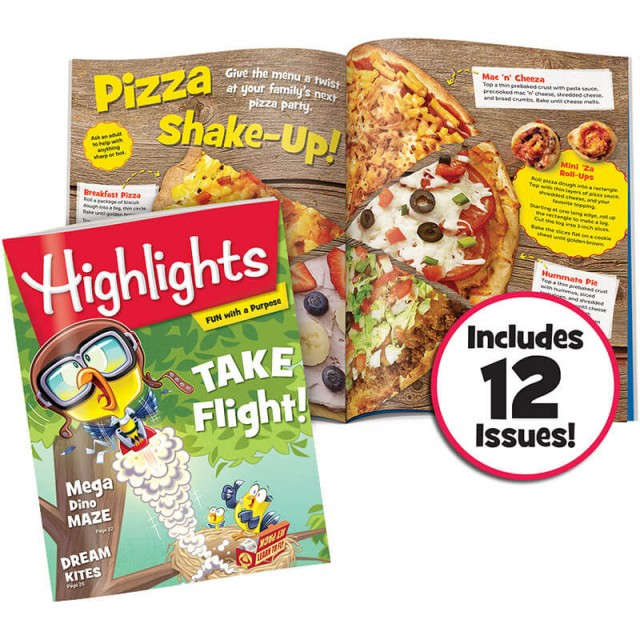 Highlights magazine and interior spread with a pizza recipe