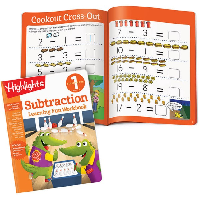 Learning Fun Workbook: Subtraction book and subtraction problems
