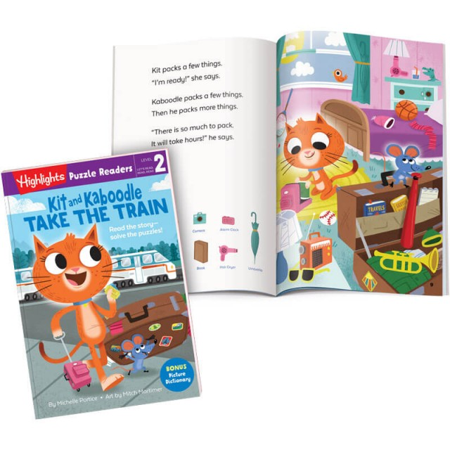 Kit and Kaboodle Take the Train book and story page with Hidden Pictures puzzle