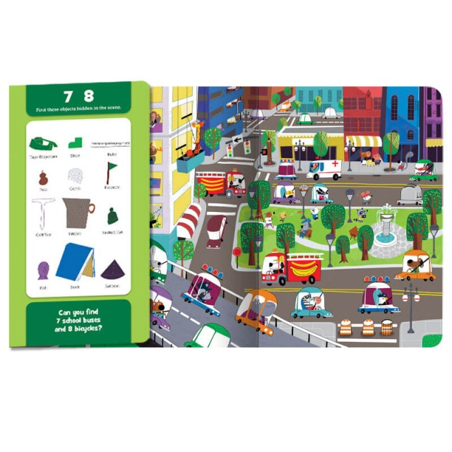 Folded page with Hidden Pictures objects and unfolded page with accompanying city scene