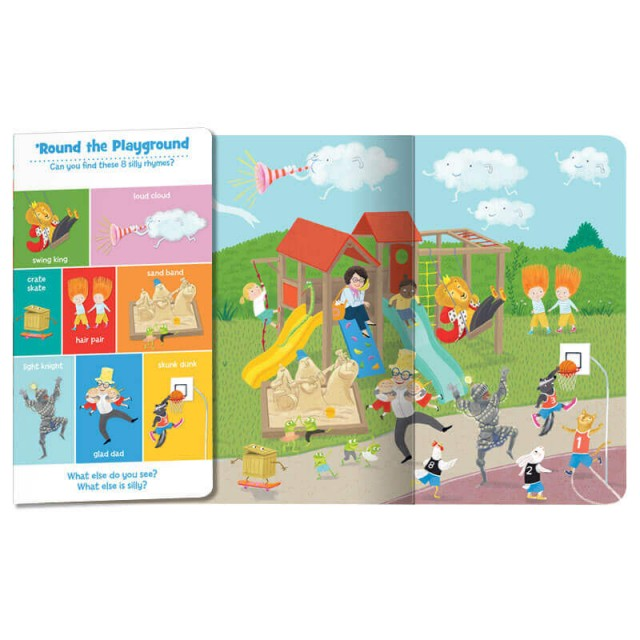 Folded page with silly objects and unfolded page with accompanying playground scene