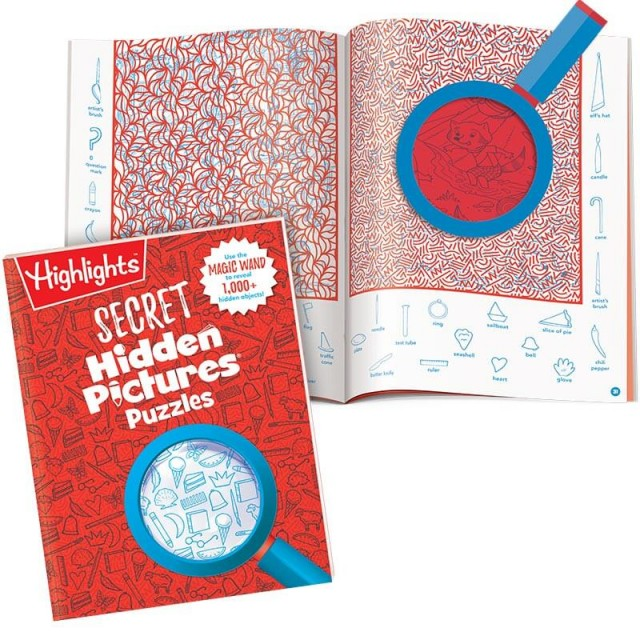 Secret Hidden Pictures Puzzles book with 2-page secret puzzle and special lens revealing a portion of the scene
