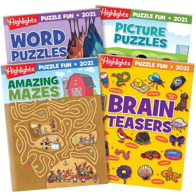 Puzzle Fun 2021 4-Book Set with Amazing Mazes, Word Puzzles, Picture Puzzles and Brain Teasers books