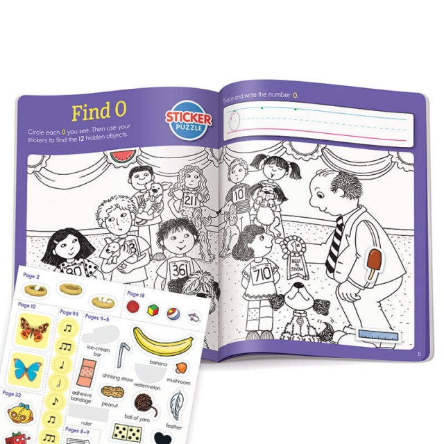 Find number 0 with stickers and Hidden Pictures puzzle