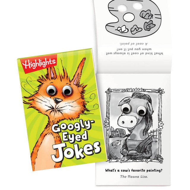 Googly-Eyed Jokes book and illustrated joke with googly eyes