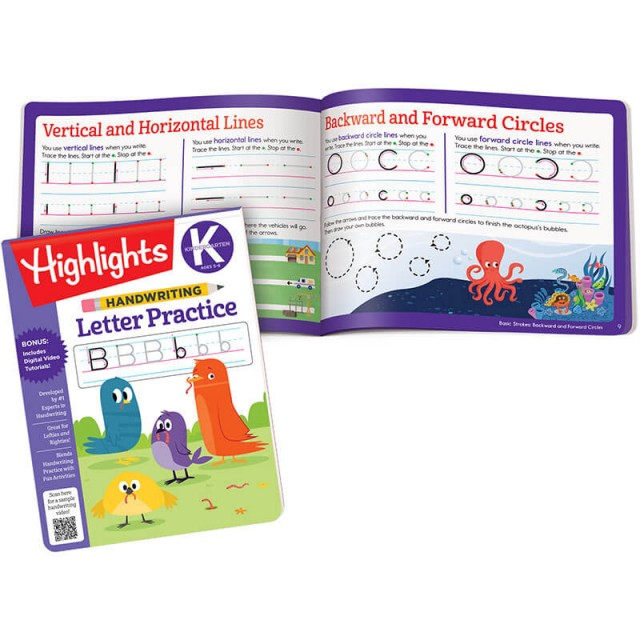 Handwriting Letter Practice book and page to practice lines and circles