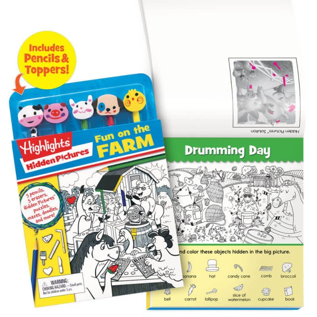 Fun on the Farm Puzzle Book With Pencils and Toppers
