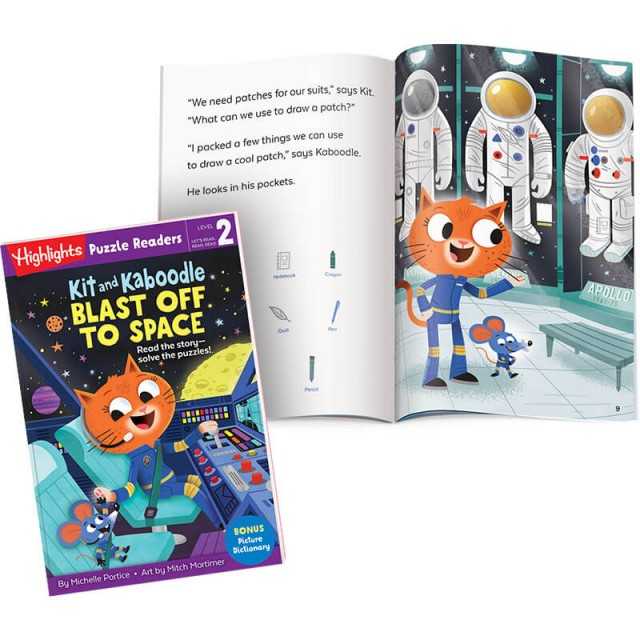 Kit and Kaboodle Blast Off to Space book, with story page and spacesuit Hidden Pictures scene
