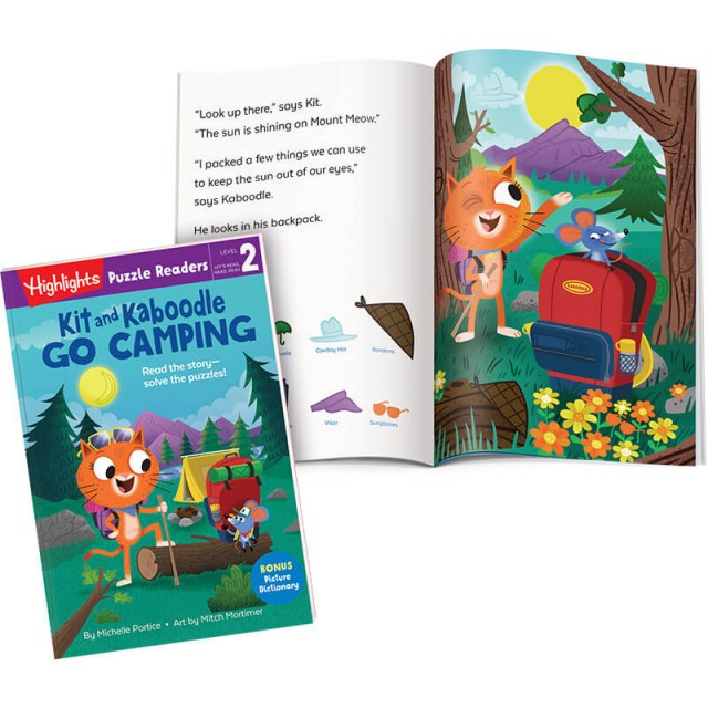 Kit and Kaboodle Go Camping book, with story page and campsite Hidden Pictures scene