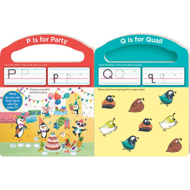 Practice pages for letters P and Q with Hidden Pictures puzzle and matching game