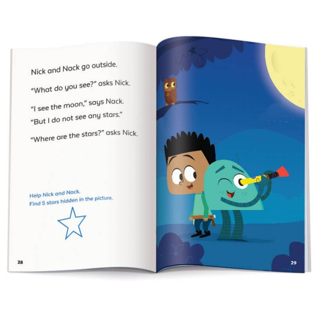 Story page and night sky scene