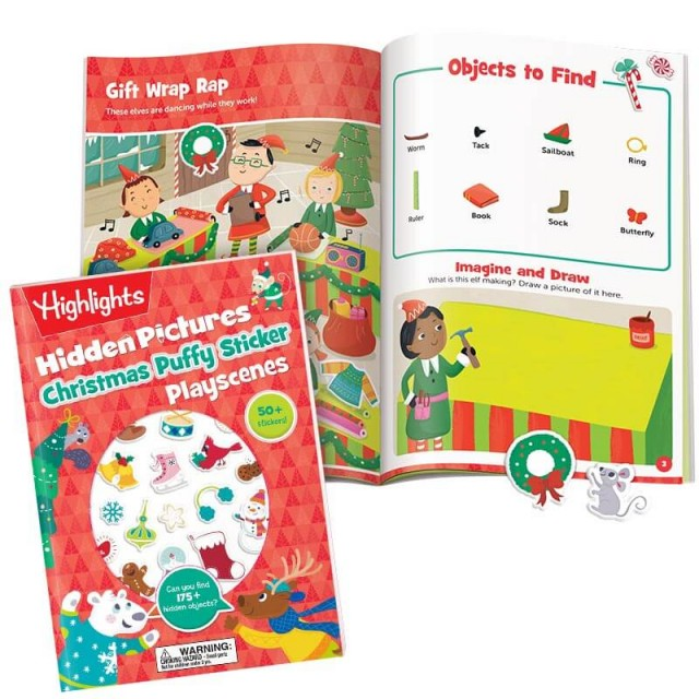 Hidden Pictures Christmas Puffy Sticker Playscenes book and holiday scene