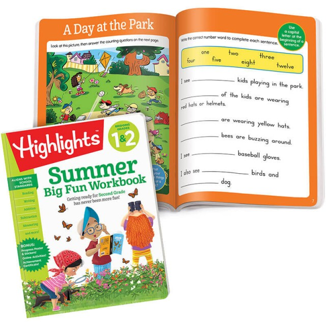 Summer Big Fun Workbook and A Day at the Park puzzle with fill-in story