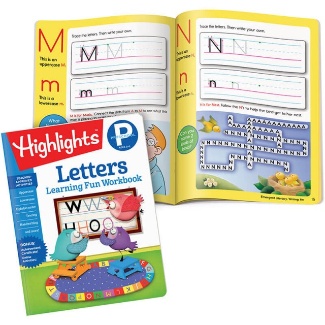 Learning Fun Workbook: Letters book and writing practice pages