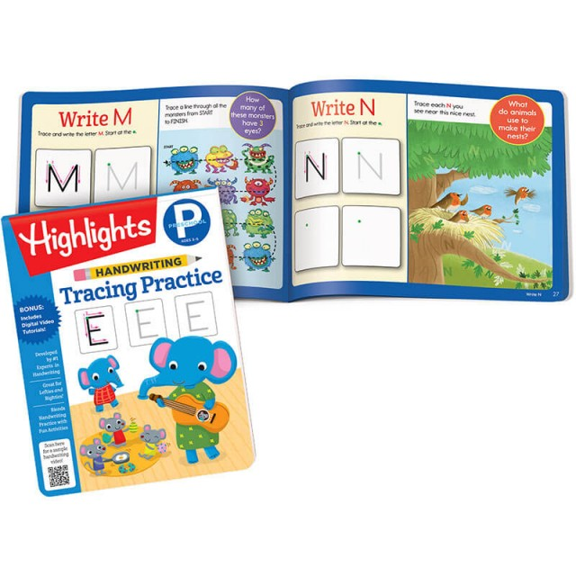 Handwriting Tracing Practice book and pages for letters M and N