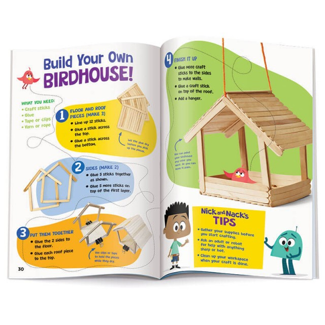 Birdhouse craft instructions with illustrations for STEM learning