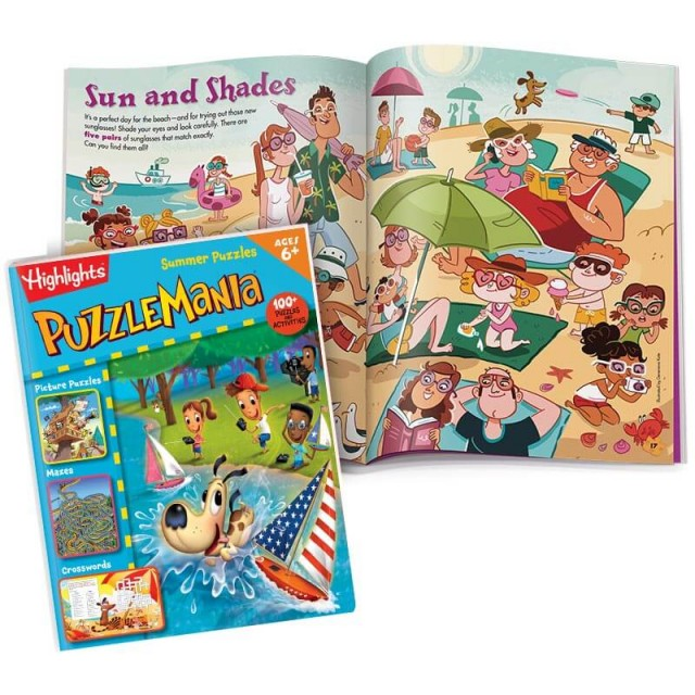 Puzzlemania Summer Puzzles book and 2-page Hidden Pictures puzzle of Sun and Shades scene