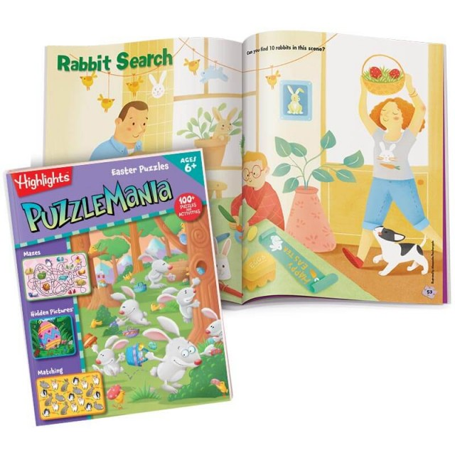 Puzzlemania Easter Puzzles book and 2-page Hidden Pictures puzzle of Rabbit Search scene