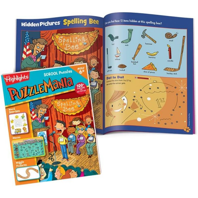Puzzlemania School Puzzles book with Hidden Pictures puzzle of Spelling Bee scene and a connect-the-dots puzzle