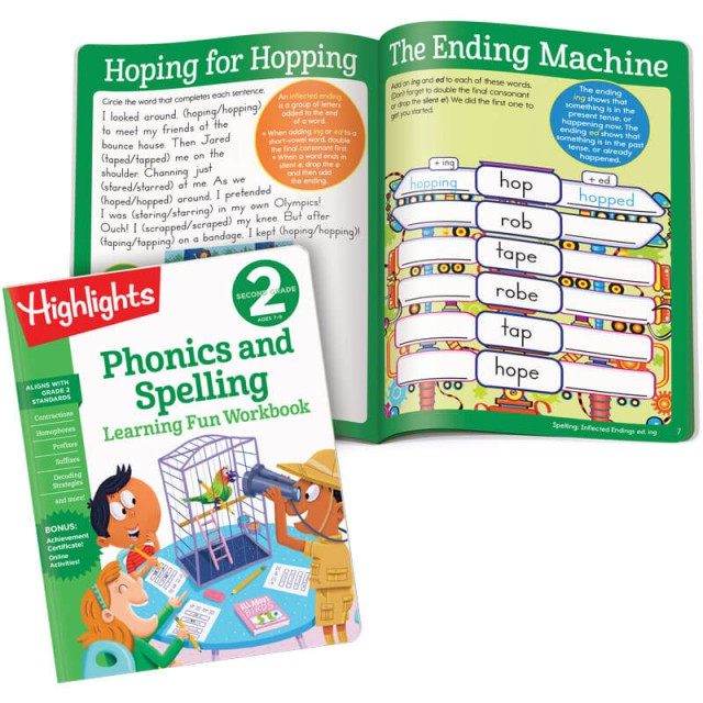 Learning Fun Workbook: Phonics and Spelling, and interior page with word-endings puzzle