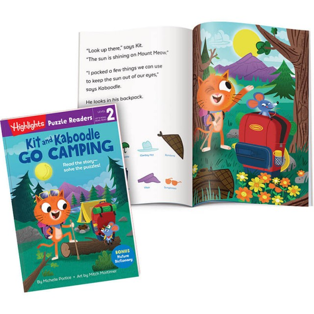 Kit and Kaboodle Go Camping book and story page with Hidden Pictures scene