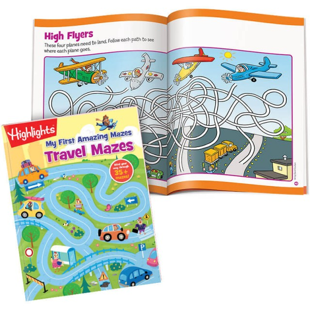 Travel Mazes book and a string maze with airplanes